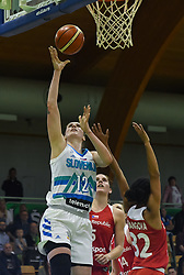 Eva Lisec shoots during friendly basketball match between Women teams of Slovenia and Czech Republic before EuroBasket Serbia 2019, on May 31st, 2019 in Arena Tri Lilije, Lasko, Slovenia. Photo by Milos Vujinovic / Sportida