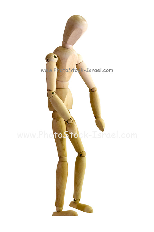 Posed artist manikin on white background looking down