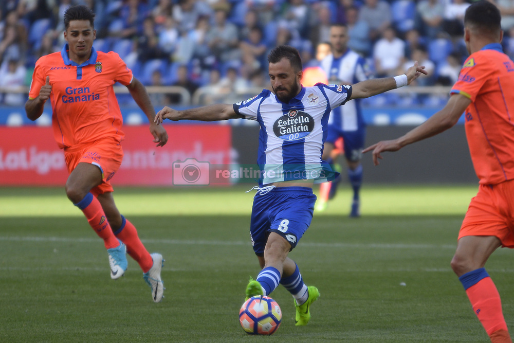 May 20, 2017 - Emre Colak with the ball. LA CORUNA SPAIN. MAY 20, 2017 - La Liga Santander match day 38 game. Deportivo La Coruna defeated Las Palmas with goals scored by Florin And one (4th and 28th minute) and Carles Gil (39th minute). Riazor Stadium, Spain. Photo by Monica Arcay Carro   PHOTO MEDIA EXPRESS (Credit Image: © Monica Arcay Carro/VW Pics via ZUMA Wire/ZUMAPRESS.com)