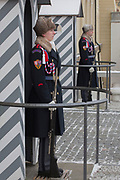 Uniformed guards (the nearest, a woman) wear the Ruritanian-style uniforms outside Prague Castle, at Hradcany-Prazsky Hrad (Prague Castle), on 18th March, 2018, in Prague, the Czech Republic. Ater the Velvet Revolution in 1990 when the communist regime ended, Václav Havel, the first President of the Czech Republic wanted his guards's uniforms to be different from the khaki ones the communists wore and the basic ones found in neighboring countries. Havel chose Theodor Pistek, the Czech born artist and costume designer who won an Academy Award for Best Costume Design for the 1984 film Amadeus.