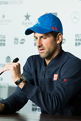 Press conference of Novak Djokovic aduring day six of the Mutua Madrid Open tennis at La Caja Magica on May 11, 2017 in Madrid, Spain. (Photo by Oscar Gonzalez/NurPhoto) *** Please Use Credit from Credit Field ***