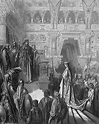 King Solomon welcoming the Queen of Sheba. I Kings10:2. From Gustave Dore's illustrated 'Bible' 1865-66. Wood engraving.