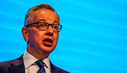 Pictured:  Chancellor of the Duchy of Lancaster Michael Gove     speaks  to delegates   on the first day at the Conservative Party Conference<br /> <br /> <br /> Giannis Alexopoulos | EEm 29/09/2019