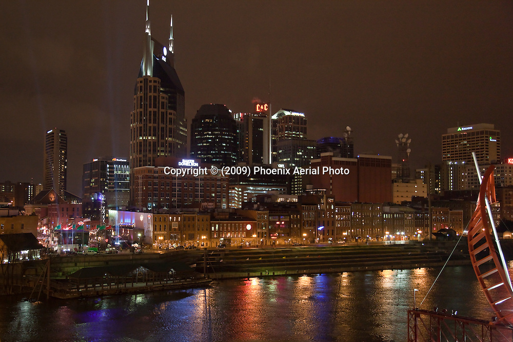 The Nashville Tennessee Skyline At Night On New Years Eve 2009.