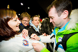 Tomaz Razingar at reception of Slovenia team arrived from Winter Olympic Games Sochi 2014 on February 19, 2014 at Airport Joze Pucnik, Brnik, Slovenia. Photo by Vid Ponikvar / Sportida