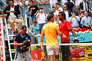Rafael Nadal of Spain shakes hand after his victory against Gael Monfils of France during the Mutua Madrid Open 2018, tennis match on May 9, 2018 played at Caja Magica in Madrid, Spain - Photo Oscar J Barroso / SpainProSportsImages / DPPI / ProSportsImages / DPPI
