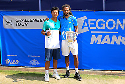 Dustin Brown of Germany (Winner) poses with Yen-Hsun Lu of Chinese Taipei (Runner up)- Mandatory by-line: Matt McNulty/JMP - 05/06/2016 - TENNIS - Northern Tennis Club - Manchester, United Kingdom - AEGON Manchester Trophy