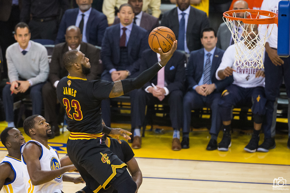 Cleveland Cavaliers forward LeBron James (23) takes the ball to the basket against the Golden State Warriors during Game 5 of the NBA Finals at Oracle Arena in Oakland, Calif., on June 12, 2017. (Stan Olszewski/Special to S.F. Examiner)