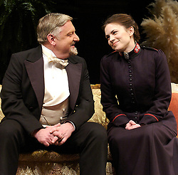 Major Barbara<br /> by Bernard Shaw<br /> at the Olivier Theatre, Southbank, London, Great Britain<br /> press photocall<br /> 3rd March 2008<br /> <br /> Hayley Atwell (as Barbara Undershaft)<br /> Simon Russell Beale (as Andrew Undershaft)<br /> <br /> Photograph by Elliott Franks