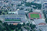 Marienlyst stadion (til venstre) i Drammen fotografert fra luften i juni 2008. Drammenshallen , samling av idrettsanlegg i Drammen.<br /> <br /> 9. juni 2008. Foto: Peter Tubaas/Digitalsport<br /> <br /> Arena Stadion Stadium Flyfoto Aerial photo Norway