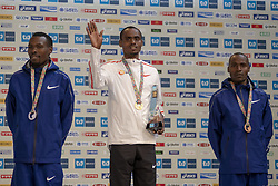 March 3, 2019 - Tokyo, Tokyo, Japan - Second-placed Karoki Bedan (L) of KEN and third-placed Chumba Dickson (R) of KEN wave with first-placed Legese Birhanu (C) of ETH as they pose for photographers during the awards ceremony for the Tokyo Marathon in Tokyo on March 3, 2019. (Credit Image: © Alessandro Di Ciommo/NurPhoto via ZUMA Press)