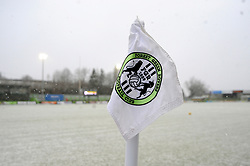 Snows falls inside the innocent New Lawn Stadium prior to kick-off - Mandatory by-line: Nizaam Jones/JMP - 02/01/2021 - FOOTBALL - innocent New Lawn Stadium - Nailsworth, England - Forest Green Rovers v Oldham Athletic - Sky Bet League Two