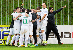 Players of Olimpija celebrate after scoring goal at penalty shot during football match between NK Rudar and NK Olimpija Ljubljana in Round #35 of Prva liga Telekom Slovenije 2015/16, on May 14, 2016, in Stadium Ob jezeru, Velenje, Slovenia. NK Olimpija with this victory became Slovenian National Champion 2016. Photo by Vid Ponikvar / Sportida