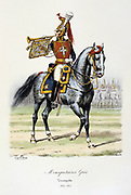 Mounted Trumpeter of  the Grey Musketeers, 1814-1815.   From 'Histoire de la maison militaire du Roi de 1814 a 1830' by Eugene Titeux, Paris, 1890.