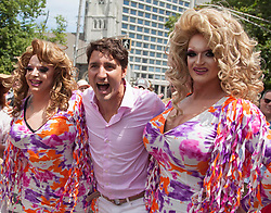 Canadian Prime Minister Justin Trudeau, poses for a photo with parade goers during the annual Halifax Pride Parade, NS, Canada, on Saturday, July 22, 2017. Photo by CP/ABACAPRESS.COM  | 600853_001 Halifax Canada