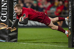December 30, 2018 - Limerick, Ireland - Keith Earls of Munster scores a try during the Guinness PRO14 match between Munster Rugby and Leinster Rugby at Thomond Park in Limerick, Ireland on December 29, 2018  (Credit Image: © Andrew Surma/NurPhoto via ZUMA Press)
