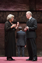 © Licensed to London News Pictures. 08/09/2014. London, England. Pictured: Margot Leicester as Camilla and Tim Pigott-Smith as Charles. King Charles III, a play in blank verse by Mike Bartlett and directed by Rupert Goold has now transferred from the Almeida to Wyndham's Theatre, London. With Tim Pigott-Smith as Charles. Photo credit: Bettina Strenske/LNP