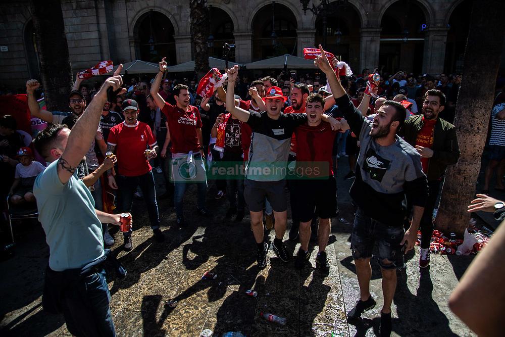 May 1, 2019 - Barcelona, Catalonia, Spain - Liverpool fans singing and jumping before the UEFA Champions League Semi Final first leg match between Barcelona and Liverpool at the Nou Camp on May 01, 2019 in Barcelona, Spain. (Credit Image: © Pau Venteo/NurPhoto via ZUMA Press)