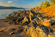 rocky shore of Gulf of St.Lawrence<br /> Iles Aux Coudres<br /> Quebec<br /> Canada