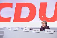 22 NOV 2019, LEIPZIG/GERMANY:<br /> Angela Merkel, CDU, Bundeskanzlerin, CDU Bundesparteitag, CCL Leipzig<br /> IMAGE: 20191122-01-181<br /> KEYWORDS: Parteitag, party congress, allein, Logo