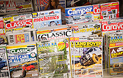 Display racks of UK consumer motoring magazines