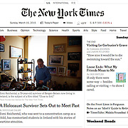 """Screengrab of """"Breaking Silence, Survivor Sets Out to Meet Holocaust Past"""" published in The New York Times"""