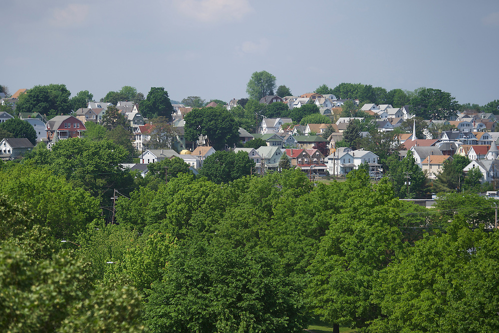 WILKES-BARRE- May 27, 2016.  Residences in Wilkes-Barre, PA, a city of 41,000 in central Pennsylvania.  Wilkes-Barre is the county seat of Luzerne County, in which 77.4% of Republicans voted for Donald Trump.