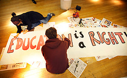 © under license to London News Pictures. UCL students paint banners (08/12/10) ahead of tomorrow's student protests in London. Photo credit should read: Olivia Harris/ London News Pictures