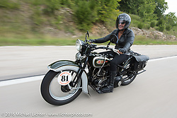 Sharon Jacobs riding her 1936 Harley-Davidson VLH during Stage 6 of the Motorcycle Cannonball Cross-Country Endurance Run, which on this day ran from Cape Girardeau to Sedalia, MO., USA. Wednesday, September 10, 2014.  Photography ©2014 Michael Lichter.