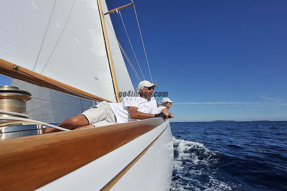 "September 2011 Regates Royales Cannes Onboard Rowdy the NY40 Class boat..Class: New York 40.Designer(s): Nathanael Greene Herreshoff.Type of Boat: NY40 Bermudan Cutter.Year Built: 1916.LOA m / ft: 19.8m   /   65'.LOD m / ft: 17.98m   /   59'.LWL m / ft: 12.2m   /   40'.Beam m / ft: 4.35m   /   14'3"".Draft m / ft: 2.4m   /   8'.Sail Stats: Sail No: NY49"