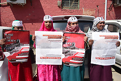 March 28, 2019 - Srinagar, India - Association of Parents of Disappeared Persons (APDP) held a  protest against the Killing of a Teacher Rizwan Pandith in custody of Indian Forces in Lalchowk Srinagar, Indian Administered Kashmir on 28 March 2019.  The slain teacher was resident of Awantipora Pulwama. (Credit Image: © Muzamil Mattoo/NurPhoto via ZUMA Press)