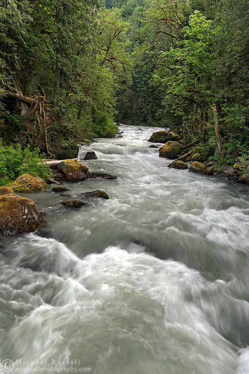 Tamihi Creek in the Chilliwack River Valley.  Photographed from the bridge at the Tamihi Creek Recreation Site in the Chilliwack River Valley, Chilliwack, British Columbia, Canada
