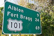Highway mileage distance sign near Albion, Mendocino County, California