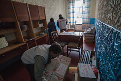Medecines are delivered to the small polyclinic in the village of Gorodishe, near to Lugansk, where MSF is providing a mobile clinic to the local population.
