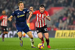 February 27, 2019 - Southampton, England, United Kingdom - Southampton midfielder Pierre-Emile Hojbjerg gets clear of Fulham midfielder Kevin McDonald during the Premier League match between Southampton and Fulham at St Mary's Stadium, Southampton on Wednesday 27th February 2019. (Credit Image: © Mi News/NurPhoto via ZUMA Press)