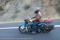 Buzz Kanter riding his 1936 Harley-Davidson VLH during Stage 16 (142 miles) of the Motorcycle Cannonball Cross-Country Endurance Run, which on this day ran from Yakima to Tacoma, WA, USA. Sunday, September 21, 2014.  Photography ©2014 Michael Lichter.