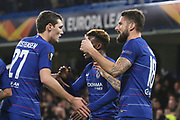 Olivier Giroud of Chelsea (18) celebrating after scoring goal during the Champions League group stage match between Chelsea and PAOK Salonica at Stamford Bridge, London, England on 29 November 2018.