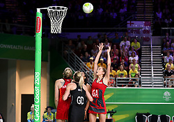 England's Helen Housby (GA) shoots against New Zealand in the netball at the Gold Coast Convention and Exhibition Centre during day seven of the 2018 Commonwealth Games in the Gold Coast, Australia.