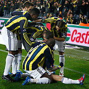 Fenerbahce's Mirosloav Stoch celebrate his goal with team mate during their Turkish superleague soccer match Fenerbahce between Genclerbirligi at the Sukru Saracaoglu stadium in Istanbul Turkey on Saturday 03 March 2012. Photo by TURKPIX