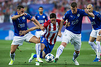 Danny Drinkwater, Robert Huth of Leicester City Football Club competes for the ball with Fernando Torres of Atletico de Madrid  during the match of  Champions LEague between  Atletico de Madrid and LEicester City Football Club at Vicente Calderon  Stadium  in Madrid, Spain. April 12, 2017. (ALTERPHOTOS / Rodrigo Jimenez)