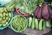 Fruit and vegetables including mangoes, cucumbers and banana flowers for sale at Phsar Kandal morning market in Phnom Penh, the capital city of Cambodia. A large variety of local products are available for sale in fresh markets all over Cambodia, all being sold on small individual stalls.
