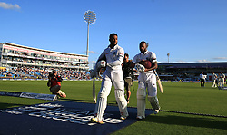 West Indies not out batsmen Shai Hope (left) and Jermaine Blackwood at the end of day two of the the second Investec Test match at Headingley, Leeds.