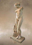 """Roman marble statue of the Esquiline Venus or Aphrodite dated to the 1st cent. It was found in 1874 in Piazza Dante on the Esquiline Hill in Rome, probably part of the site of the Horti Lamiani, one of the imperial gardens, rich archaeological sources of classical sculpture. The Esquiline Venus is an example of the Pasitelean """"eclectic"""" style of the Neo-Attic school. It combines elements from a variety of other previous schools - a Praxitelean idea of the nude female form; a face, muscular torso, and small high breasts in the fifth-century BC severe style; and pressed-together thighs typical of Hellenistic sculptures. Capitoline Museums, Rome..<br /> <br /> If you prefer to buy from our ALAMY STOCK LIBRARY page at https://www.alamy.com/portfolio/paul-williams-funkystock/greco-roman-sculptures.html . Type -    Capitoline    - into LOWER SEARCH WITHIN GALLERY box - Refine search by adding a subject, place, background colour, etc.<br /> <br /> Visit our ROMAN WORLD PHOTO COLLECTIONS for more photos to download or buy as wall art prints https://funkystock.photoshelter.com/gallery-collection/The-Romans-Art-Artefacts-Antiquities-Historic-Sites-Pictures-Images/C0000r2uLJJo9_s0"""
