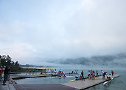 Aiguebelette, FRANCE,  Generl View of the boating Area.   2015 FISA World Rowing Championships, Venue, Lake Aiguebelette - Savoie. <br /> <br /> Friday  04/09/2015  [Mandatory Credit. Peter SPURRIER/Intersport Images]. © Peter SPURRIER, Atmospheric, Rowing