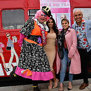 John Dixon, Francine Lewis, Nadia Essex and Simon Gross attend Celeb Bri Tea, on board the BB Bakery bus on 22 March 2019, London, UK.