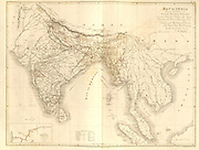 19th century map of India and Indochina From Plantae Asiaticae rariores, or, Descriptions and figures of a select number of unpublished East Indian plants Volume III by Nathaniel Wolff Wallich. Published in London in 1832