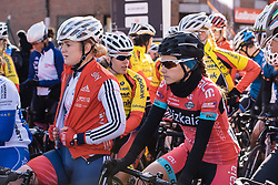 Lourdes Oyarbide secures a prime spot at the front of the race - Le Samyn des Dames 2016, a 113km road race from Quaregnon to Dour, on March 2, 2016 in Hainaut, Belgium.