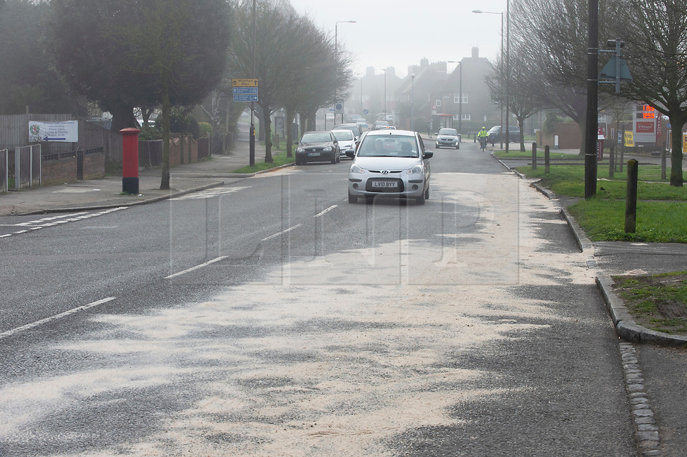 © Licensed to London News Pictures. 23/02/2019. Eltham,A large amount of sand marks the scene,  At approximately midnight a white van failed to stop for police in Eltham. The white van was in collision with a Citreon C3 car despite the best effort of emergency service the male and female occupants were pronounced deceased on scene. Photo credit: Grant Falvey/LNP