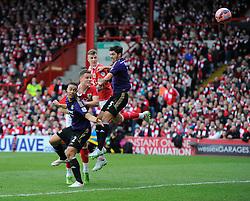 Bristol City's Matt Smith heads towards goal but his effort is saved  - Photo mandatory by-line: Joe Meredith/JMP - Mobile: 07966 386802 - 25/01/2015 - SPORT - Football - Bristol - Ashton Gate - Bristol City v West Ham United - FA Cup Fourth Round