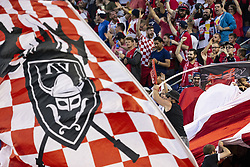September 22, 2018 - Harrison, New Jersey, United States - New York Red Bulls fans celebrate Goal scored by Kaku (not pictured) during regular MLS game against Toronto FC at Red Bull Arena Red Bulls won 2 - 0 (Credit Image: © Lev Radin/Pacific Press via ZUMA Wire)